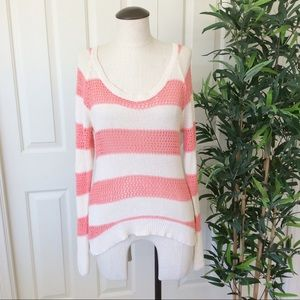 Roxy XL Coral Pink White Striped Open Knit Sweater